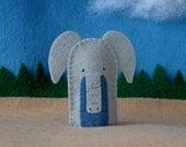 Elephant Finger Puppet - Felt Animal Puppet - Grey Elephant - Pachyderm Puppet - Safari Finger Puppet - Zoo Animal Puppet