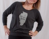 Women's IL love you forever (Illinois) Tri-Black Slouchy Top