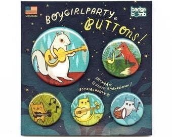 Button Pack - Music Animals Pinback button set handmade animal badge