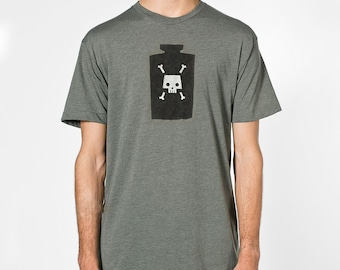 Poison Bottle Tee - Mens Hand Stenciled Crew Neck Graphic T-Shirt in Heather Olive Green - XS S M L XL 2XL
