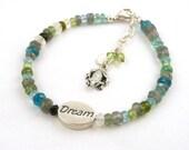 Gemstone Prince Charming Charm Bracelet // Sterling Frog Charm Bracelet // Multi Color Gemstone Bracelet // Adjustable Length Bracelet