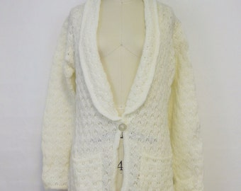 Chunky Pointelle Knit Ivory Cardigan by Bryson LTD | 1970s Deadstock Vintage Sweater | Size Medium