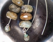 Labradorite Stack Earrings Modern Sterling Emerald