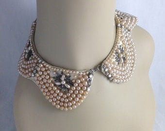 Vintage 1950s Scalloped Collar Faux Pearl and Rhinestones