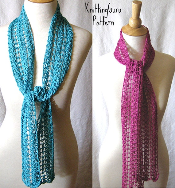 Lace Zig Zag Scarf Knitting Pattern : Knit scarf pattern zigzag lace plus tutorials instant download from knittingguru on