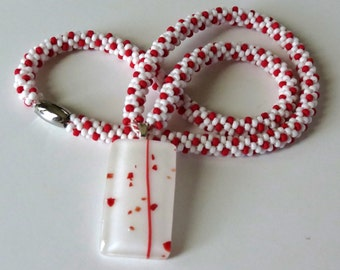 Necklace in Red and White, Fused Glass Pendant, Kumihimo Necklace, White and Red Beads, Smokeylady54