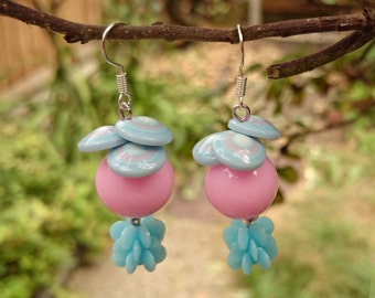 Funky Pink and Blue Plastic Earrings - Abstract shapes in pastel candy ice-cream colours - Unusual, quirky, unique - Fairy Kei, Sweet Lolita