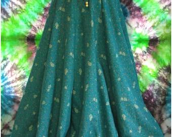 Long Flowing Silky Hippie Panel Drawstring Skirt Leaf Leaves Drape Lightweight