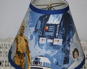 ON SALE Lampshade Lamp Shade Star Wars boys handmade with Pottery Barn Kids fabric, Any Color Trim, 4 Sizes