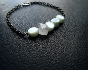 aether - peruvian opal and herkimer diamond minimal chain bracelet - edgy boho occult crystal jewelry