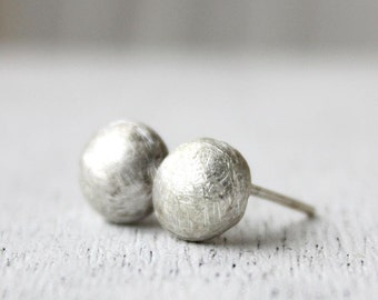 silver stud earrings, sterling silver recycled jewelry, minimalist earrings  stone pebbles, eco friendly