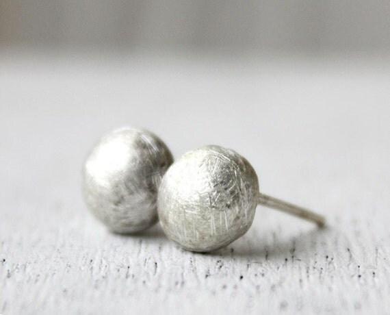 silver stud earrings, sterling silver recycled jewelry, minimalist earrings  stone pebbles, eco friendly