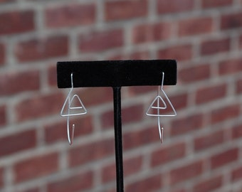 Abstract Triangle Chevron Sterling Silver Earrings Eco Friendly Recycled