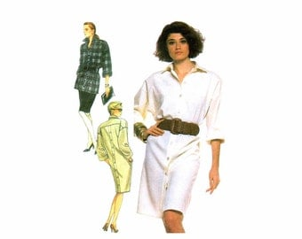 1980s Womens Dress Tunic Skirt Simplicity 8730 Vintage Sewing Pattern Misses Size 16 - 18 - 20 - 22 Bust 38 - 40 - 42 - 44 UNCUT