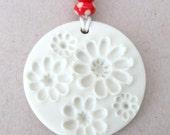 SALE - Porcelain Pendant - Matt White - Anemones