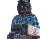 "Keep Trucking Dodo  8.5 x 11"" print by Ray Young Chu (Dog Trucker)"