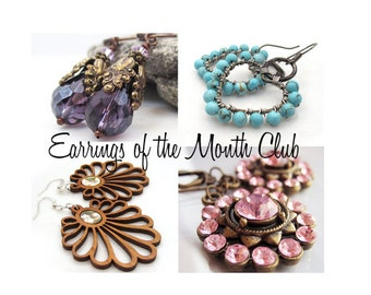 Earring of the Month Club - 3 Month Subscription! Costume Jewelry by Sparklingtwi