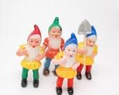 Vintage Plastic Gnome Cake Toppers - Seven Dwarves