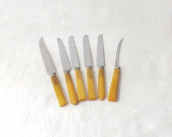 Bakelite Kitchen Knives, Lot of 6 Butterscotch Handles & Stainless Steel