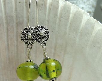 FRESH GREENS Handmade Lampwork Bead Dangle Earrings