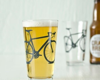 Bike Pint Glasses Pint Screen Printed Bicycle Glassware
