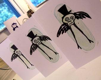 Flying Skeleton Man Halloween Card folk art spooky creepy cute jack the ripper hand made original design