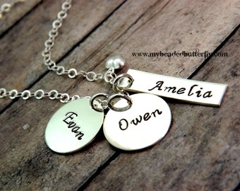 Mommy necklace - Personalized necklace - handstamped jewelry-sterling silver-three charms Mom's necklace