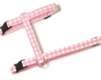 Cat Harness - Pretty Pink Gingham - Cute, Soft and Fancy for Cats and Kittens