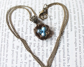Wire Wrapped Nest Pendant Necklace with Baby Blue Pearls, Mother, New Mom, Nature Inspired Wedding, Mothers Day,Bridesmaid Jewelry