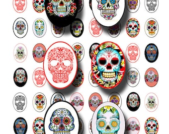 Sugar Skull tattoos collage sheet, Dia de los Muertos, Day of the Dead, 18 mm by 25 mm ovals digital download no 1060