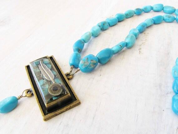 Turquoise Necklace Turquoise Beaded Resin Pendant Sleeping Beauty Turquoise Jewelry Orgonite handmade jewelry  Southwestern Jewelry 69