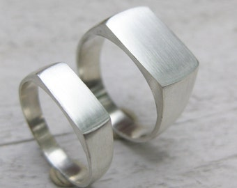 SIGNET ring SET sterling silver mens womens wedding band Made to Order