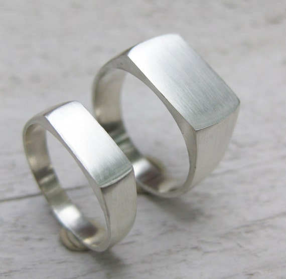 signet ring set sterling silver mens womens wedding band made