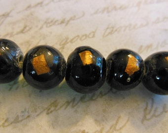 Vintage Japanese beads (4) glass handmade black gold foil rounds shiny polished   11mm 12mm (4)