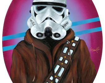 Digital print 10x14 of original Artwork of Stormtrooper wearing Wookie Jacket