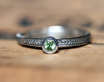 Tiny gemstone ring, stackable birthstone ring, peridot ring silver, braid ring, custom birthstone ring, gemstone stacking rings, custom