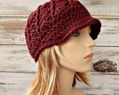 Crochet Hat Womens Hat Red Hat Red Newsboy Hat - Pippa Swirl Hat in Deep Red Pomegranate - Red Beanie Womens Accessories