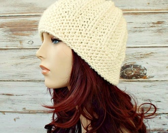 Cream Womens Hat - Imogen Ribbed Beanie in Cream Knit Hat - Cream Hat Cream Beanie Womens Accessories Winter Hat