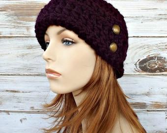 Crochet Hat Womens Hat 1920s Flapper Hat - Garbo Cloche Hat Eggplant Purple Hat Eggplant Hat Womens Accessories
