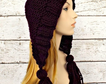 Knit Hat Womens Hat Knit Hood Ear Flap Hat - Tassel Hat in Eggplant Purple Knit Hat - Womens Accessories Winter Hat