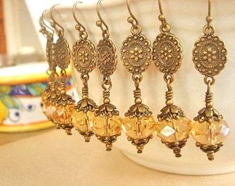 Dangle Earrings Golden Brass Earrings Crystal Earrings Bridesmaid Earrings Vintage Style Wedding Earrings