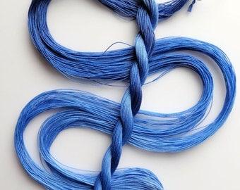 "Size 50 ""Blue Streak"" hand dyed thread tatting crochet cotton"