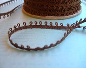 "Vintage Picot Trim 1/4"" DARK BROWN Eyelet Narrow Loops NEW 6 yards fresh clean spool"