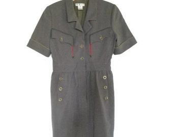 1980s Karl Lagerfeld Military Dress