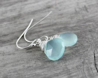 Light Aqua Earrings, Sterling Silver Earrings, Light Blue Earrings, Pale Blue Earrings, Chalcedony Gemstone Earrings, Wire Wrap Earrings