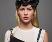 Black Flower Crown Headband - Fascinator - Hat - Flower Headpiece - Cocktail Hat - Floral Headband - Black Flowers