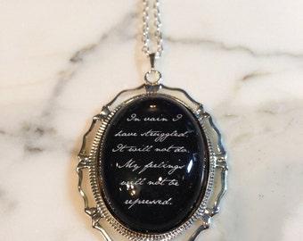 Jane Austen Necklace, Pride and Prejudice, Prose In Vain, Jane Austen, Jane Austen Charm, Jane Austen Jewelry, Statement Quote Necklace