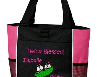 Twins Tote Bag Personalized Boy Girl Twins Peas in a Pod Embroidered Overnight Diaper Bag