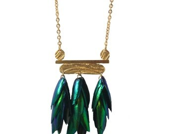 Triple Beetle Wing Necklace - LN Limited Edition of 10