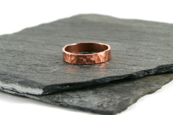 Hammered Copper Ring, Stacking Ring, Shiny or Oxidized Copper Ring